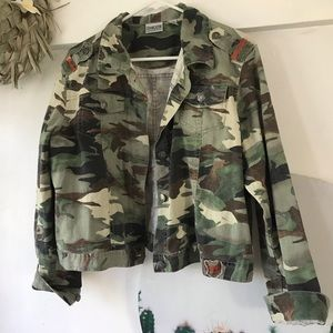 Chico's Cropped Camo Soft Denim Jacket